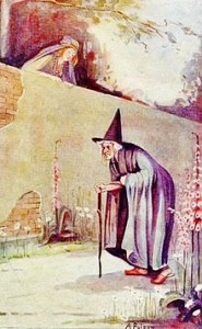 The_Queen-mother_looked_over_the_garden_wall._There_an_old_woman_hobbled,_muttering_to_herself.